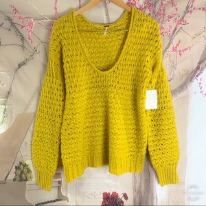 NEW Free People Mustard Cable Knit Cozy Sweater